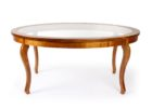 Inexpensive Round Glass Top Coffee Table With Wood Base