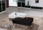 L shaped coffee table wood white black