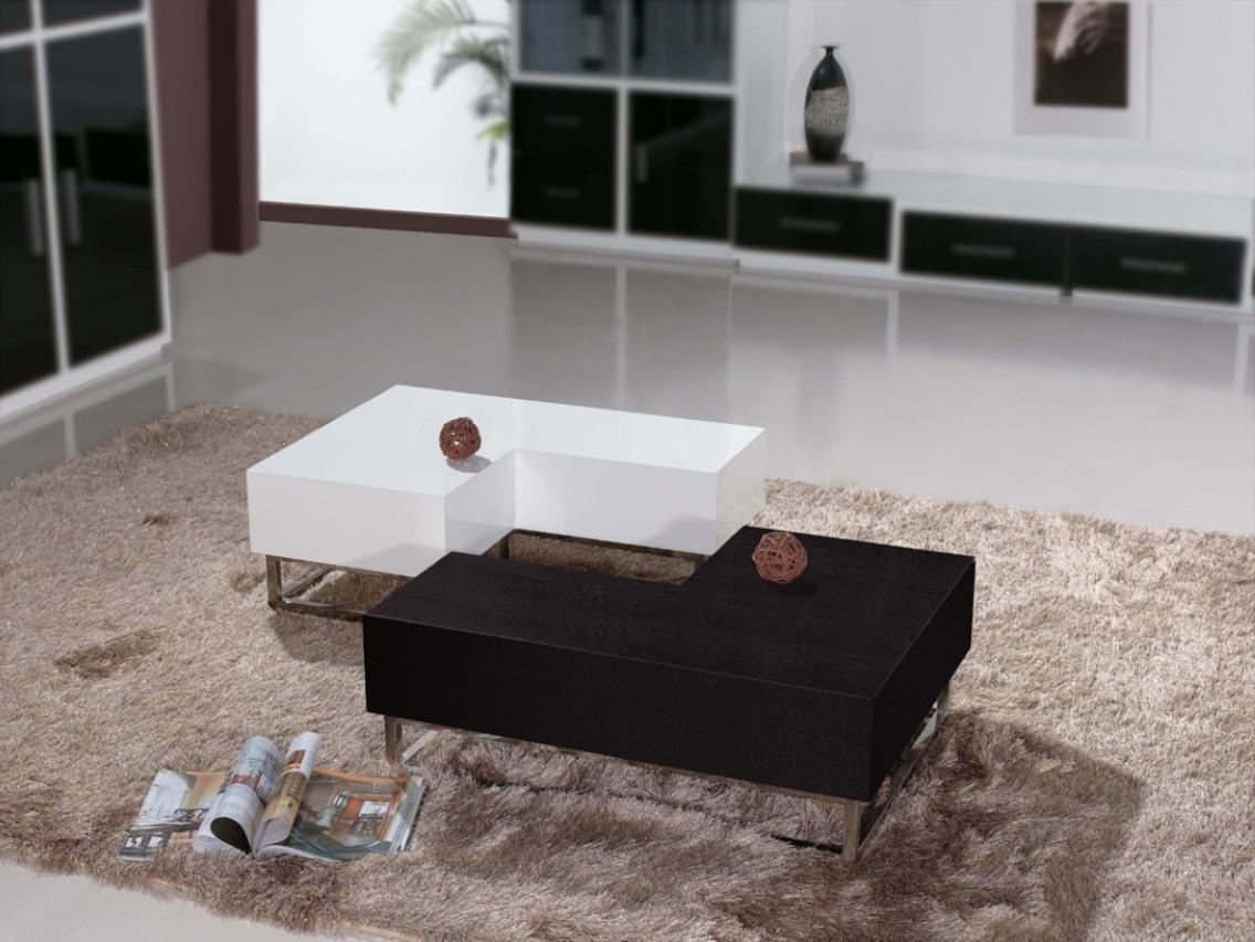 L shaped coffee table wood white black