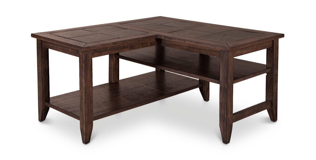 L Shaped Coffee Table Wood With Storages Raysa House