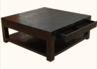 Large Square Coffee Table Dark Wood Mahogany with Drawers