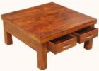 Large Square Coffee Table Dark Wood Maple with Drawers