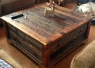 Large Square Coffee Table Dark Wood Reclaimed