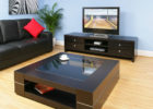 Large Square Coffee Table Dark Wood with Insert Glass Top