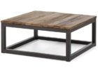 Large Square Coffee Table Dark Wood with Metal Legs