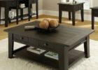 Large Square Coffee Table Dark Wood with Storage