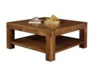 Large Square Coffee Table Dark Wood with Storages