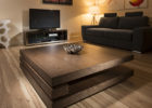 Large Square Dark Wood Coffee Table Furniture Set