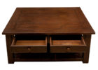 Large Square Dark Wood Coffee Table with Drawer