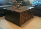 Large Square Dark Wood Coffee Table with Drawers