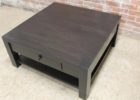 Large Square Dark Wood Coffee Table with Single Drawer