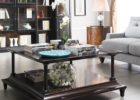 Large Square Dark Wood Coffee Table with Storage