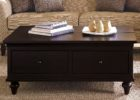 Large Square Dark Wood Coffee Table with Storages Designs