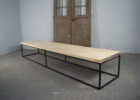 Long Metal Frame Coffee Table With Wood Top
