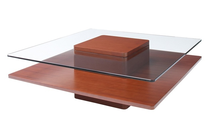 Low Cherry Wood Coffee Table With Glass Top