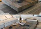 Low Large Square Coffee Table Dark Wood
