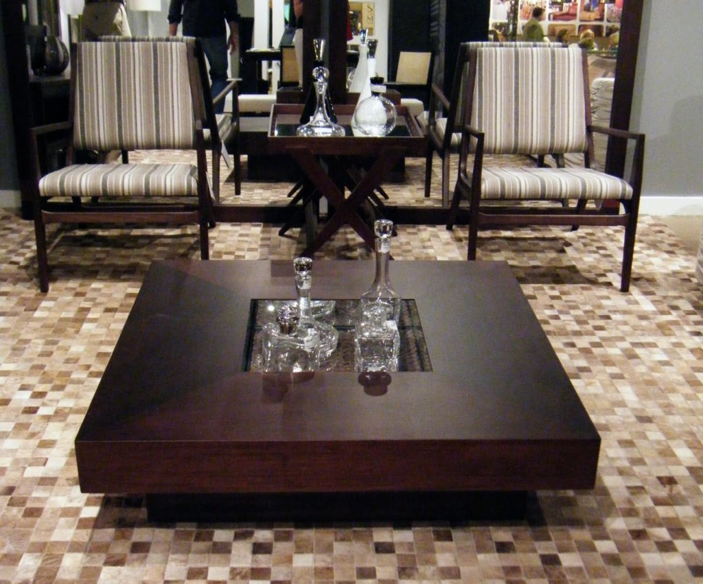 Low Large Square Dark Wood Coffee Table UK for Sale