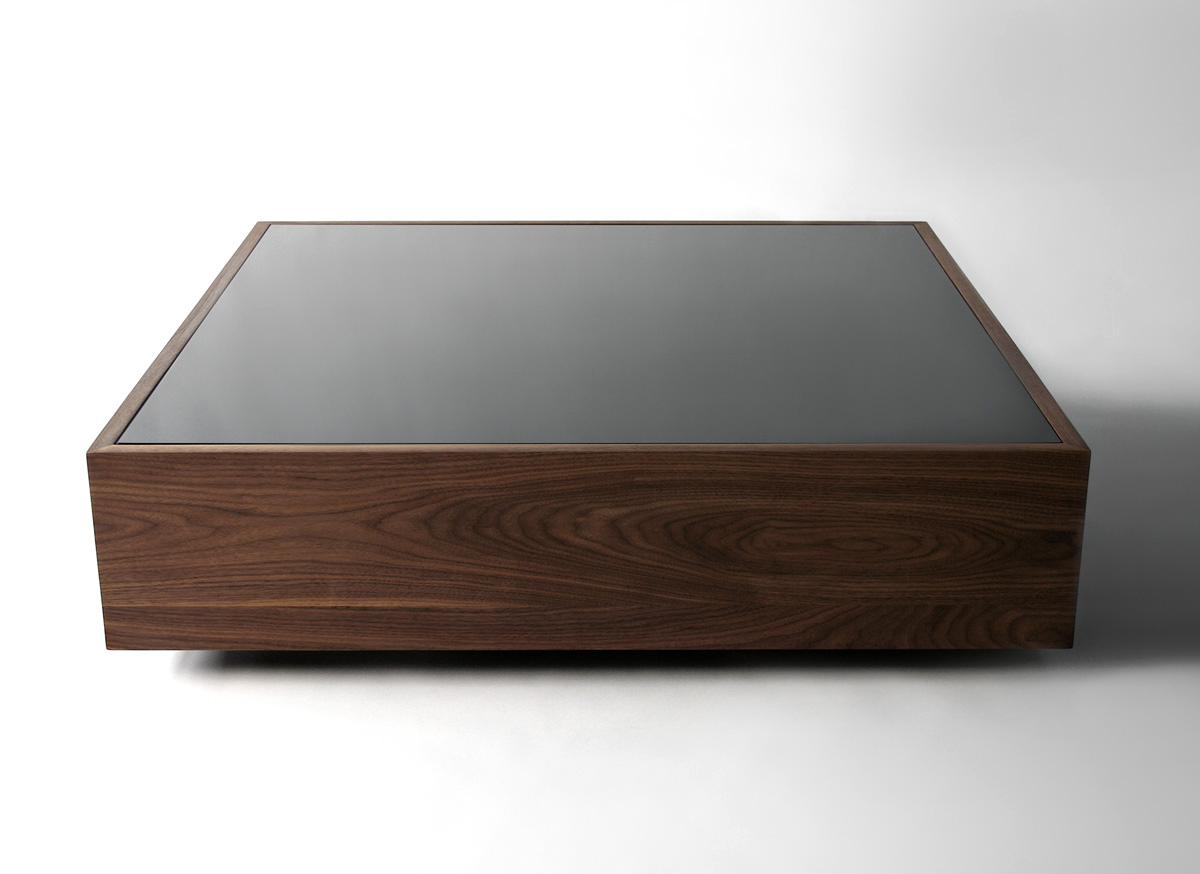 Unique large square dark wood coffee table netbakers site for Large low coffee table