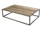 Low Metal Frame Coffee Table With Wood Top
