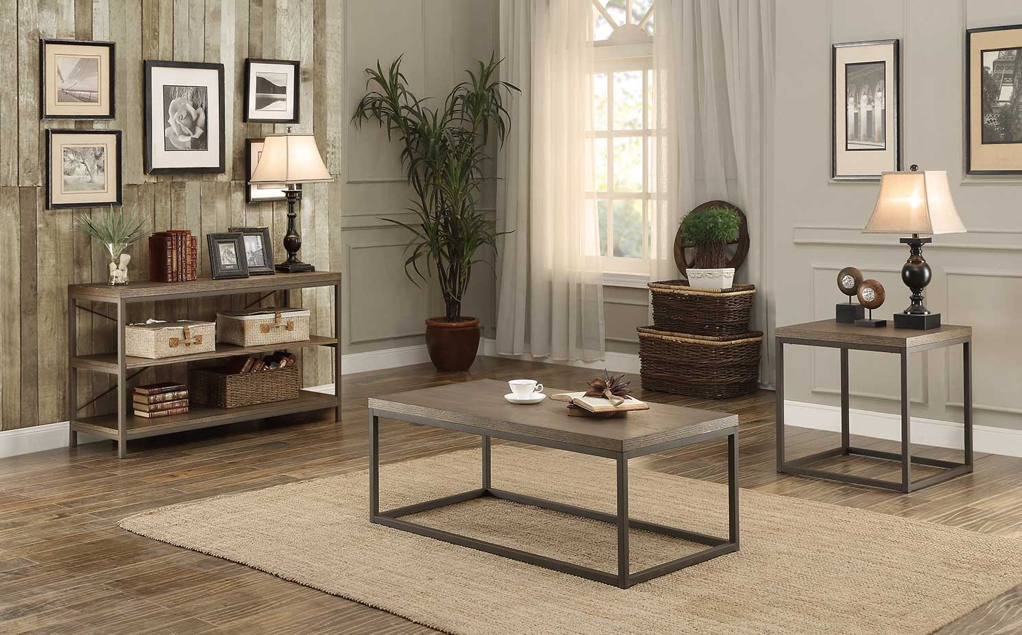 Metal Frame Coffee Table With Wood Top Furniture Sets