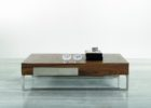 Metal Frame Coffee Table With Wood Top with Chrome Legs