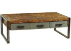Metal Frame Coffee Table With Wood Top with Storages