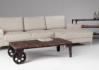 Metal Frame Coffee Table With Wood Top with Wheels