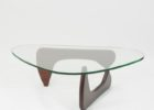 Modern Cherry Wood Coffee Table With Glass Top