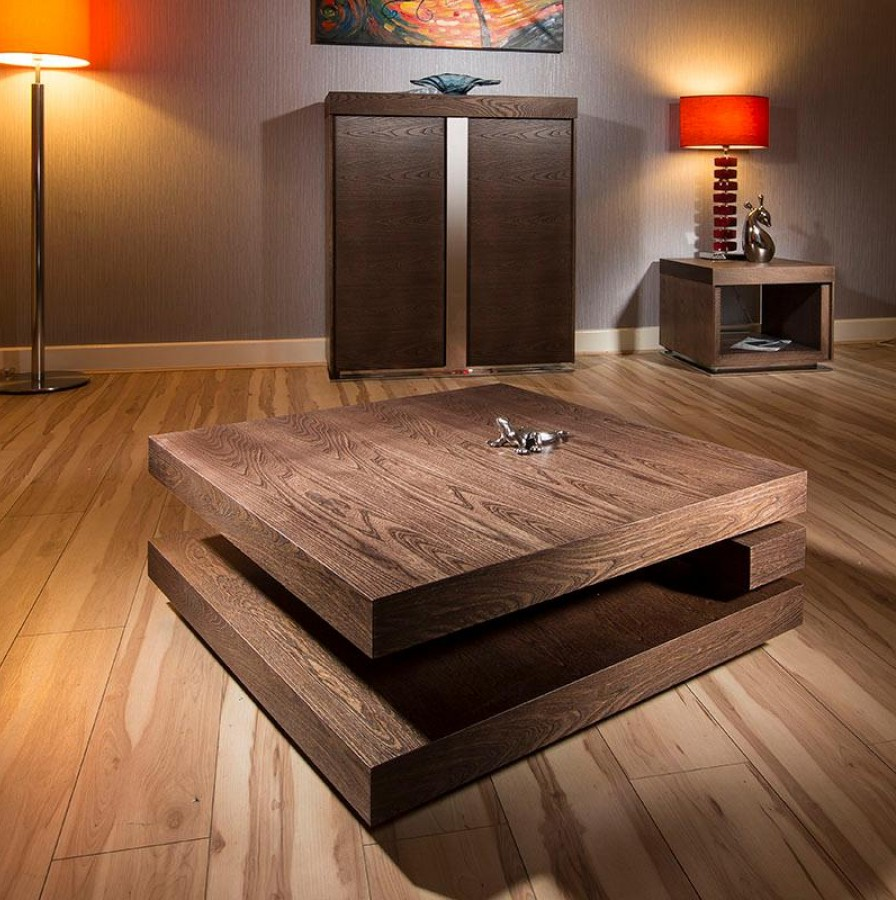 Modern Large Square Dark Wood Coffee Table