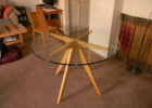 Modern Round Glass Top Coffee Table With Wood Base