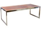Natural Wood And Chrome Coffee Table Top