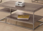 Natural Wood And Chrome Coffee Table with Storage