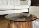 Reclaimed Wood Coffee Tables For Sale with Round Glass Top