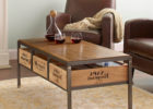 Reclaimed Wood Metal Frame Coffee Table With Wood Top