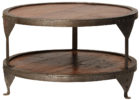 Round Barrel Metal Frame Coffee Table With Wood Top