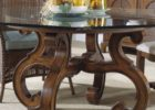 Round Glass Top Coffee Table With Wood Base
