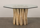 Round Glass Top Coffee Table With Wood Base Design