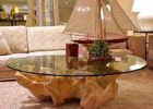 Round Glass Top Coffee Table With Wood Base Driftwood
