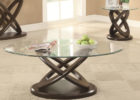 Round Glass Top Coffee Table With Wood Base Furniture Set for Sale