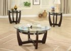 Round Glass Top Coffee Table With Wood Base Furniture Sets