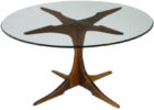 Round Glass Top Coffee Table With Wood Base Padestal