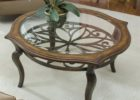 Round Glass Top Coffee Table With Wood Base Solid Design