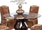 Round Glass Top Coffee Table With Wood Base for Sale