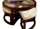 Round Glass Top Coffee Table With Wood Base with Stool Underneath