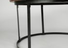 Round Metal Frame Coffee Table With Wood Top with Metal Legs