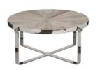 Round Reclaimed Wood And Chrome Coffee Table