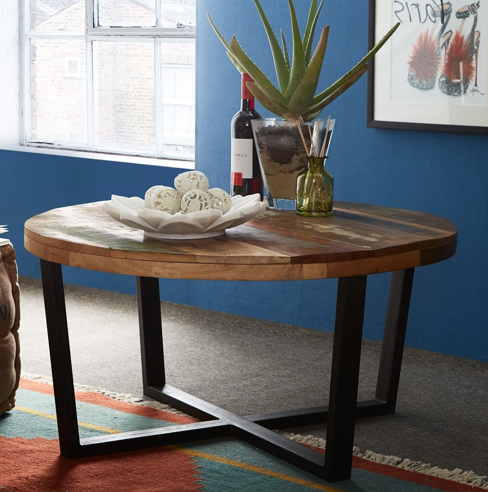 Round Reclaimed Wood Coffee Tables For Sale