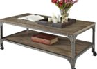 Rustic Metal Frame Coffee Table With Wood Top