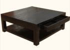 Square Dark Wood Coffee Table with Drawers UK