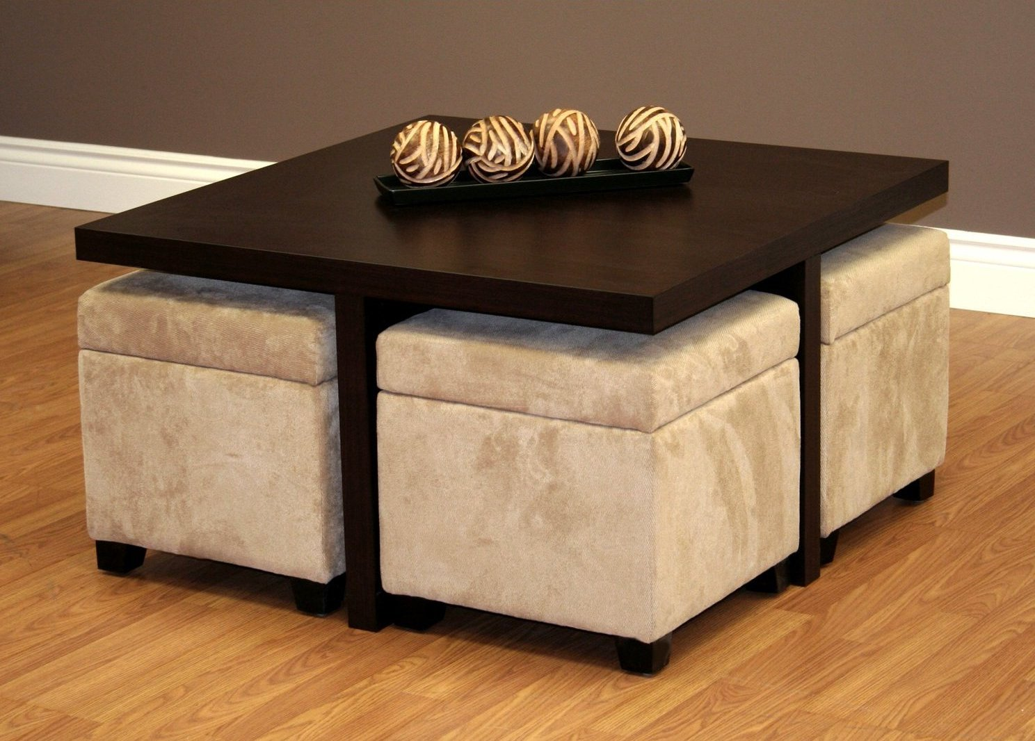 Square Dark Wood Coffee Table with Underneath